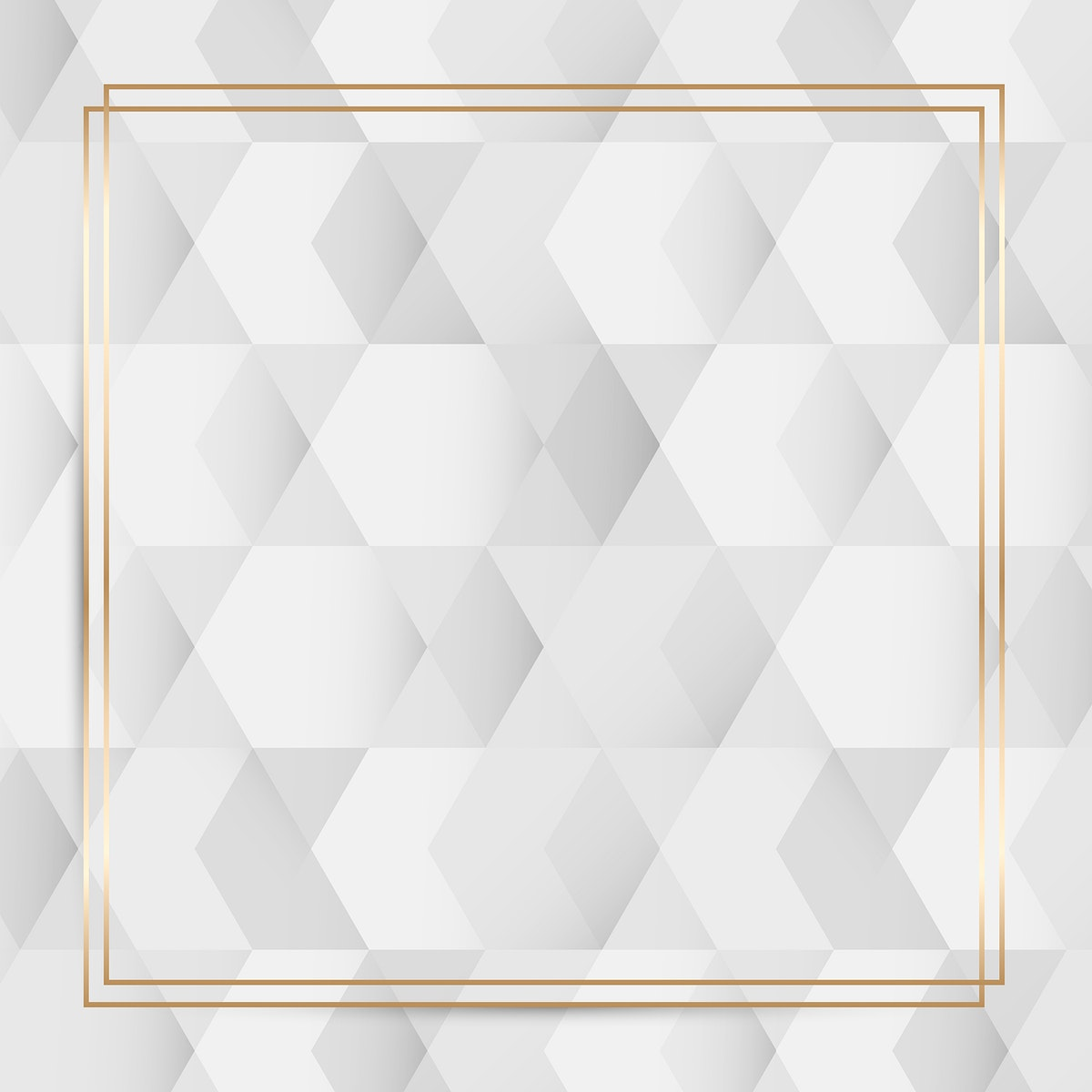Gold frame on white and gray geometric pattern background vector