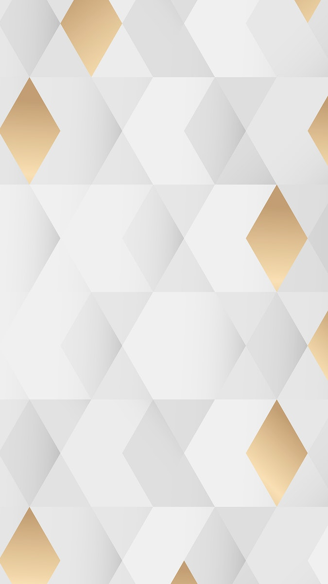 White and gold geometric pattern background mobile phone wallpaper vector