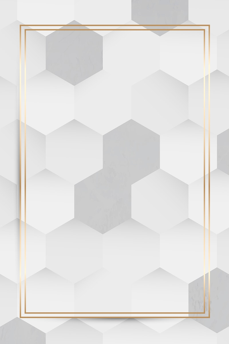 Gold frame on white and gray hexagon pattern background vector