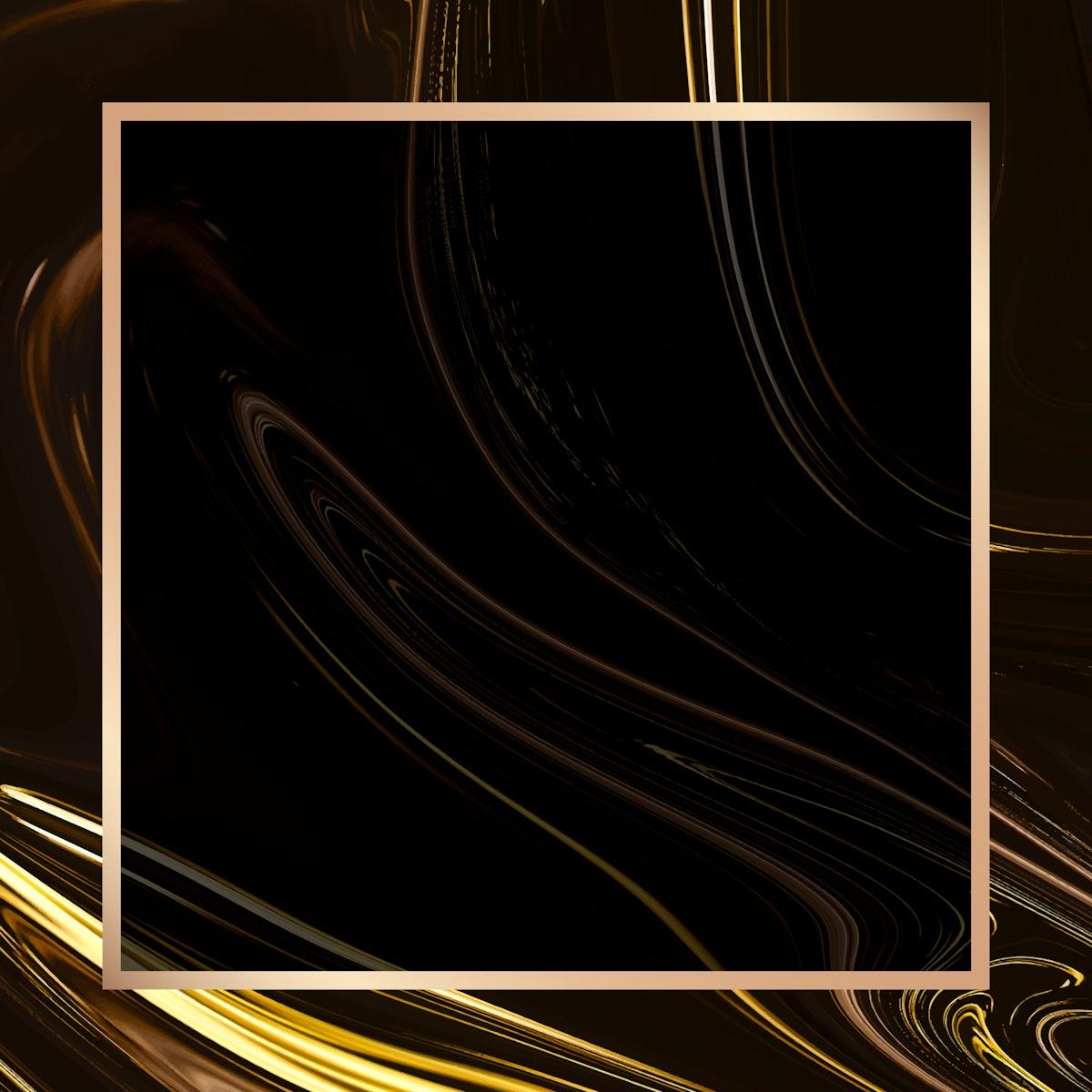 Golden square frame social ads template vector