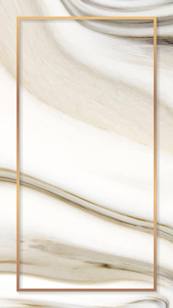 Fluid rectangle golden mobile phone wallpaper vector