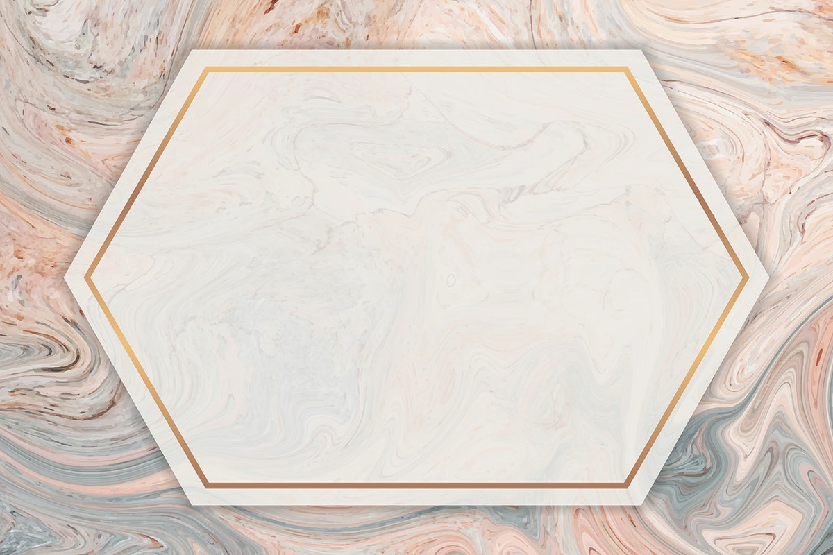 Fluid hexagon golden frame vector