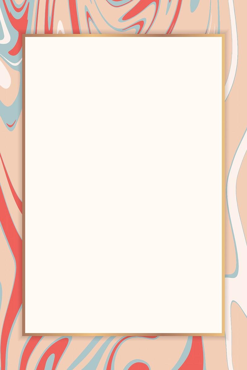 Fluid rectangle golden frame vector