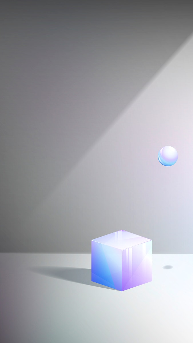 3D cube and sphere abstract design mobile phone wallpaper vector