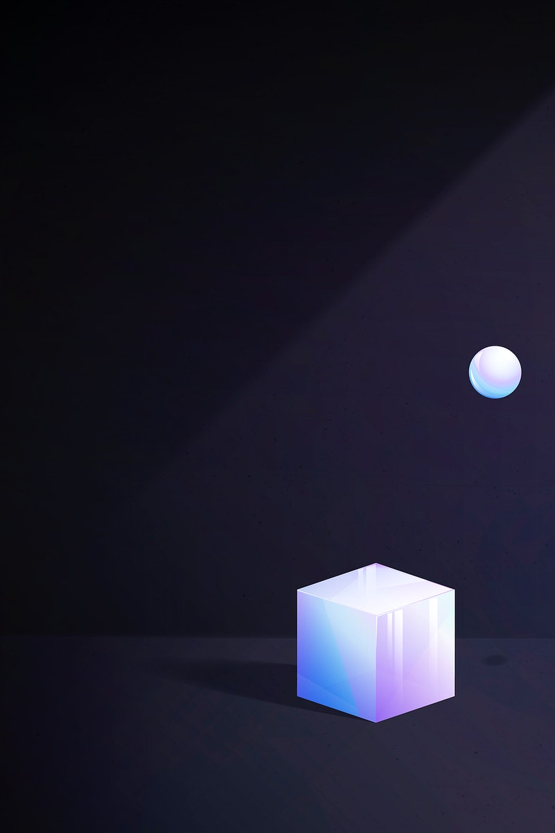 3D cube and sphere abstract design on black background vector