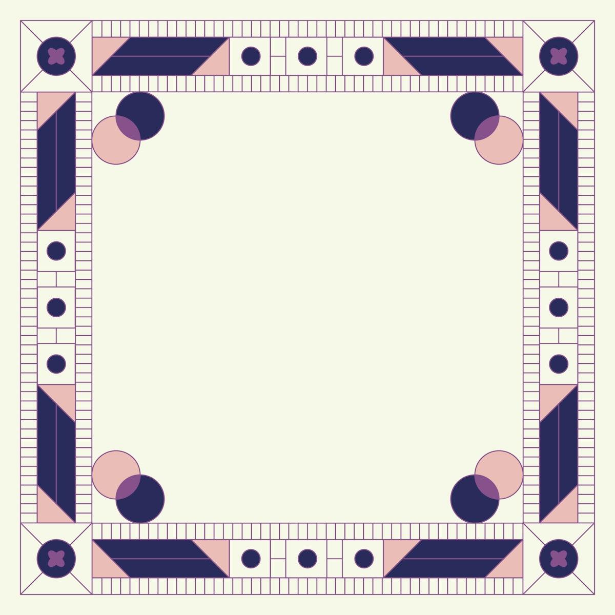 Ethnic geometrical patterned blank purple frame vector