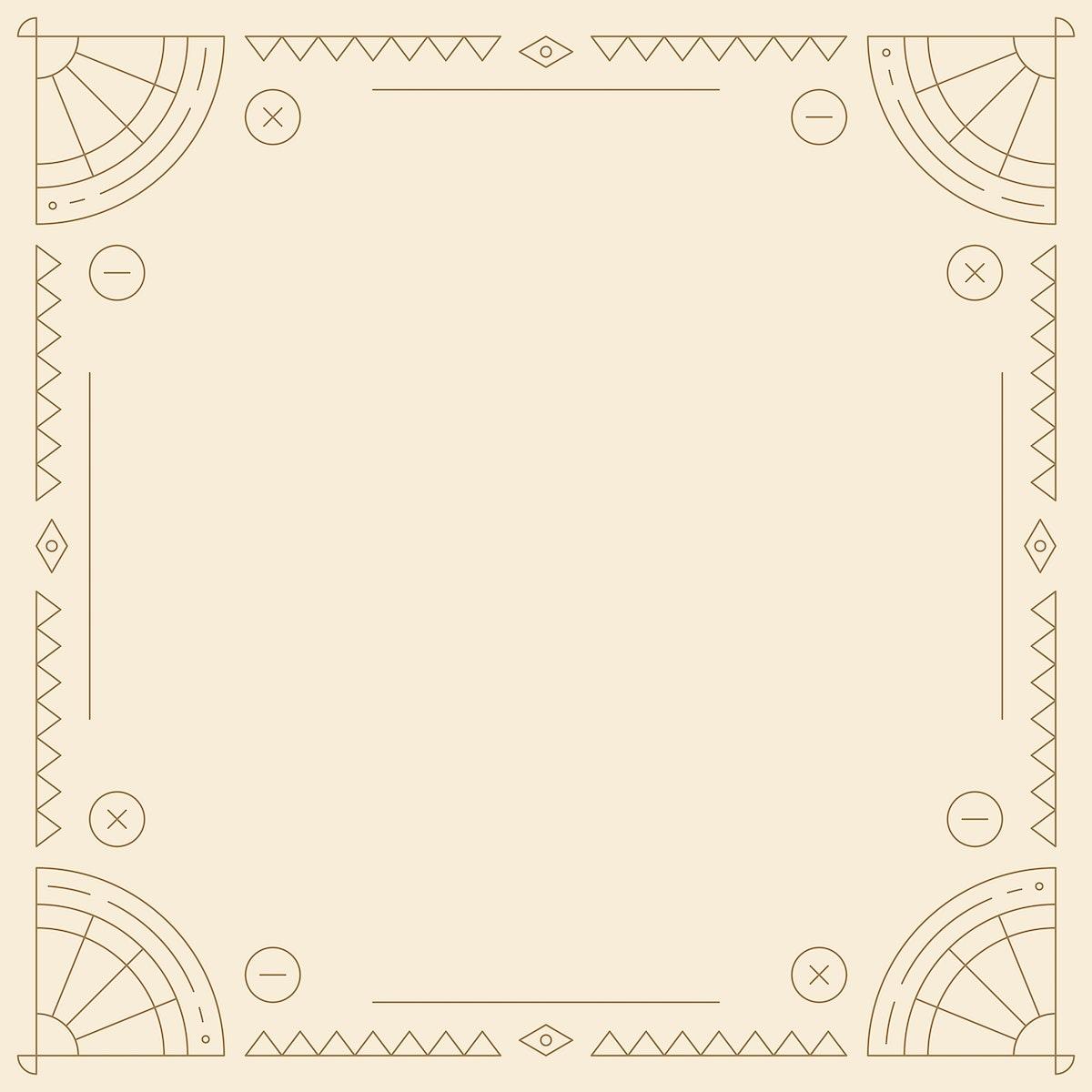 Ethnic geometrical patterned blank beige frame vector