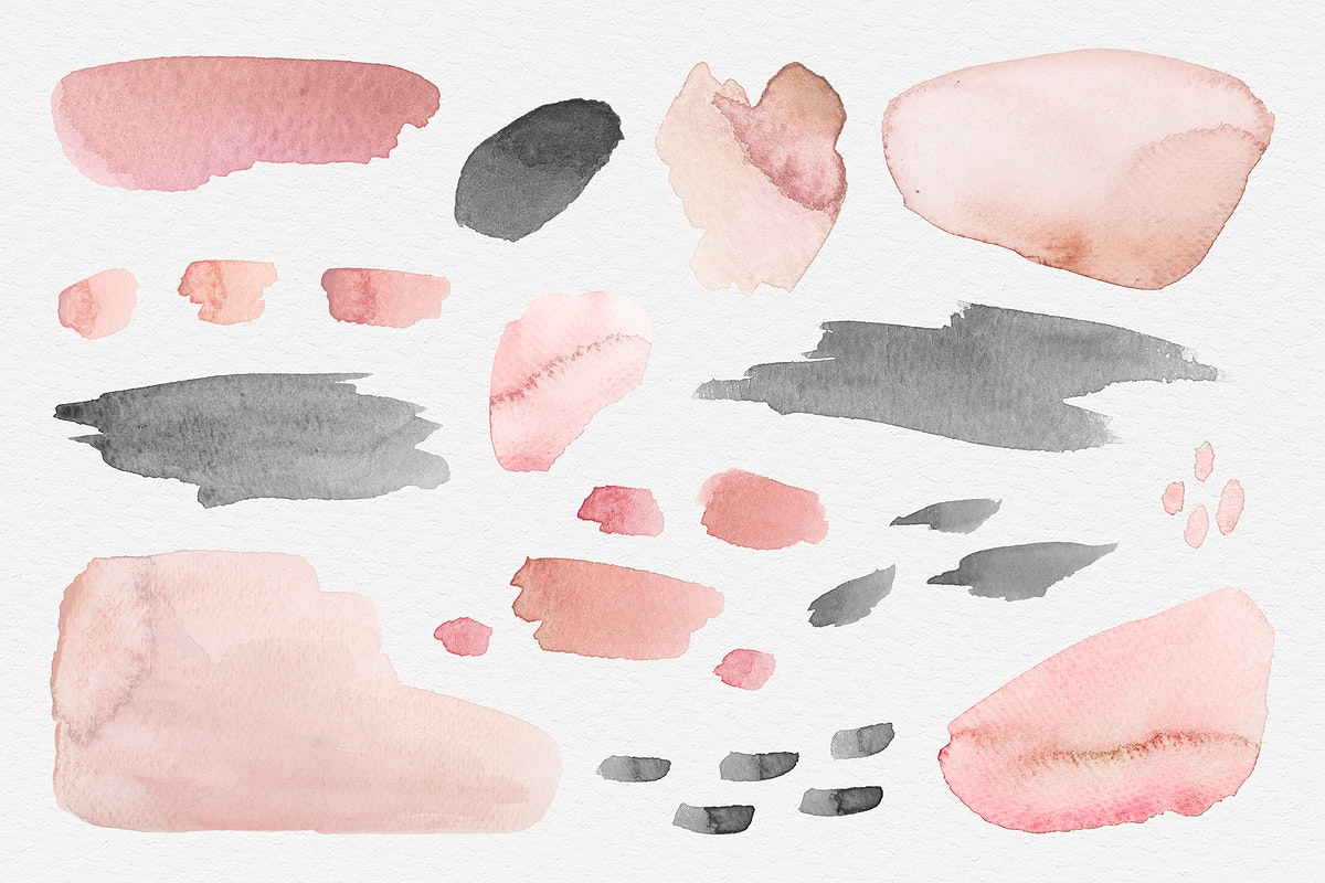 Pink and black watercolor patterned background template illustration