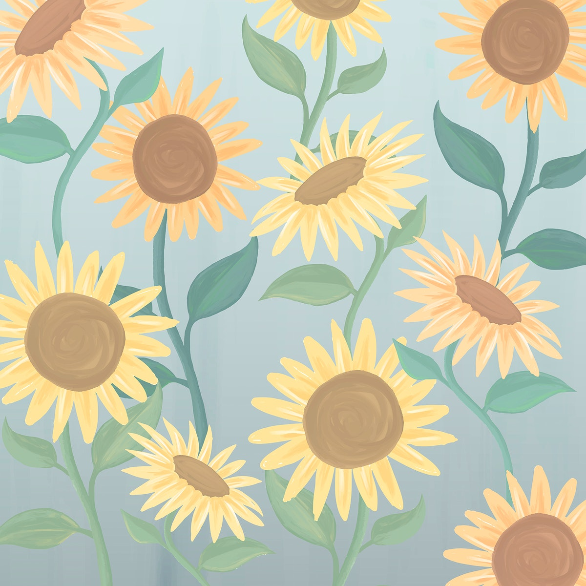 Hand drawn sunflower patterned background vector
