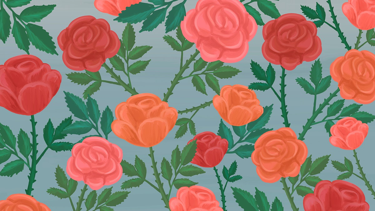 Hand drawn rose patterned background vector