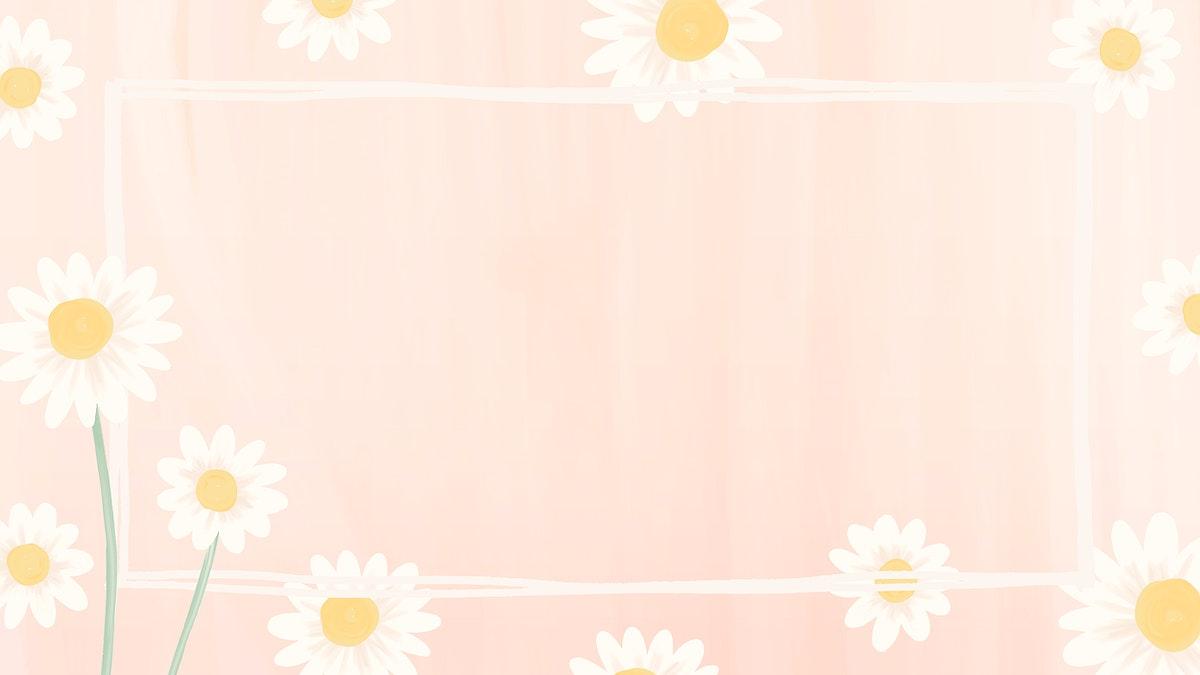 Rectangle daisy frame vector