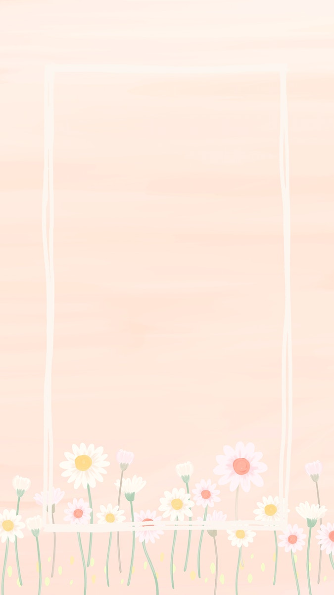 Rectangle daisy frame mobile phone wallpaper vector