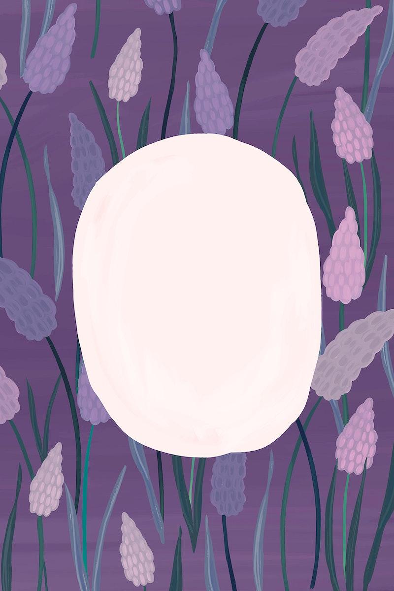 Free form grape hyacinth frame vector