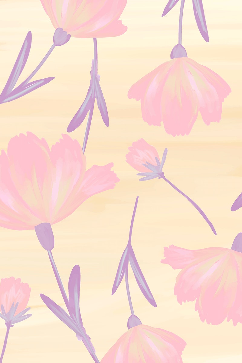 Hand drawn cosmos flower patterned background vector
