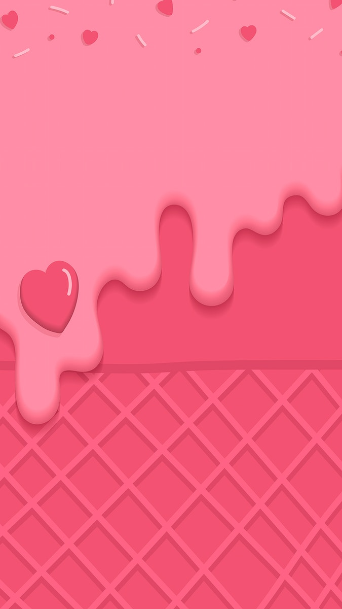 Waffles with pink creamy ice cream  mobile phone wallpaper vector