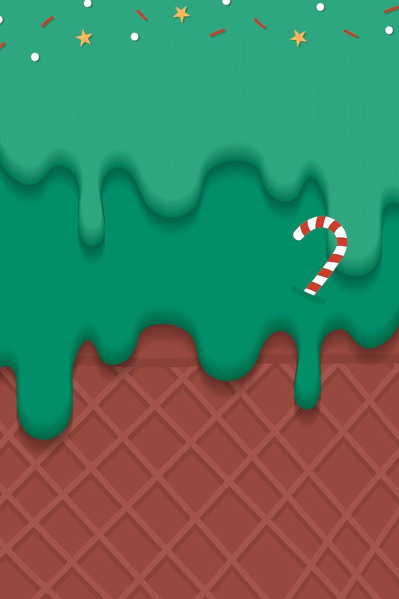 Waffles with festive Christmas ice cream  vector