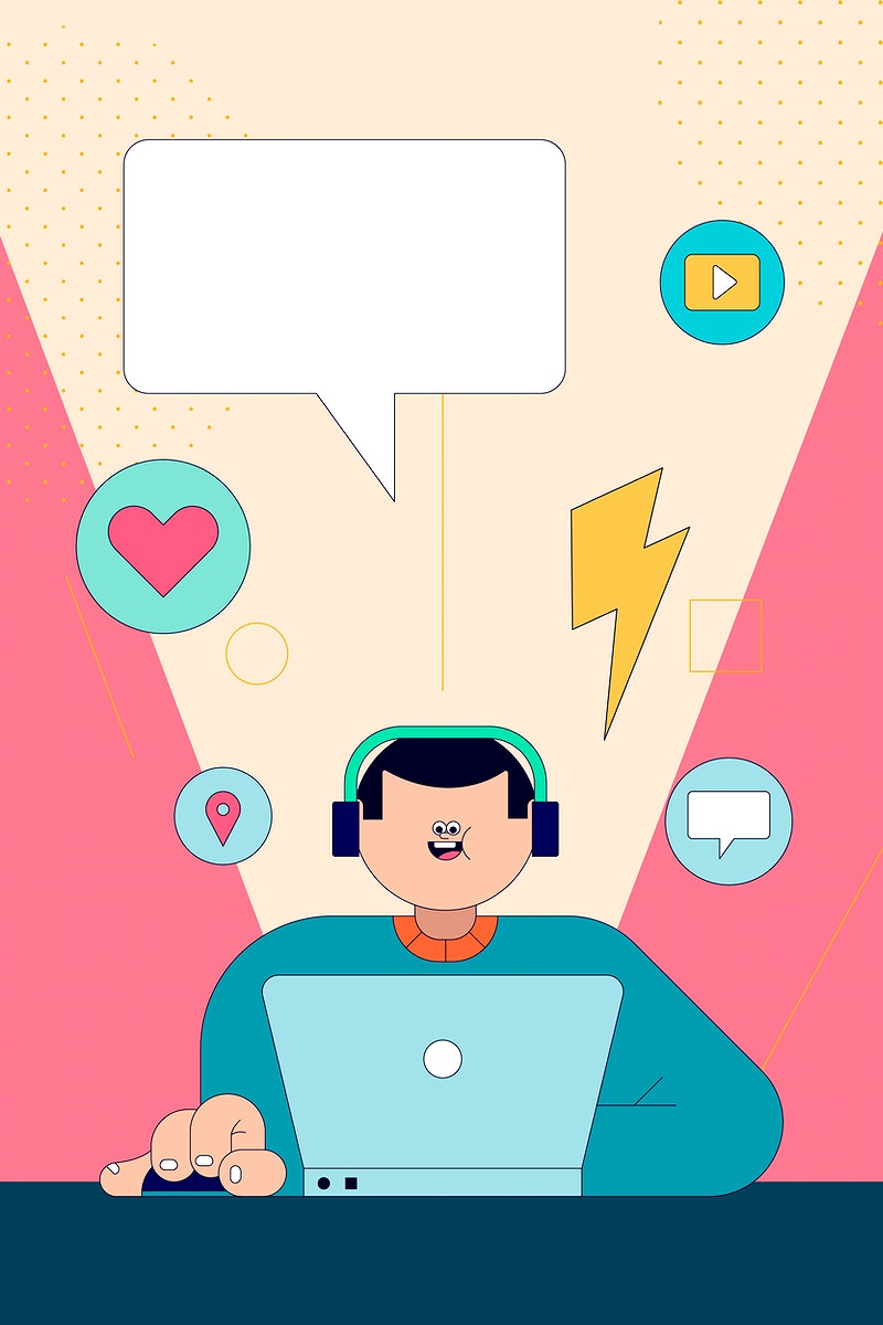 Illustration of young man on social media with laptop vector