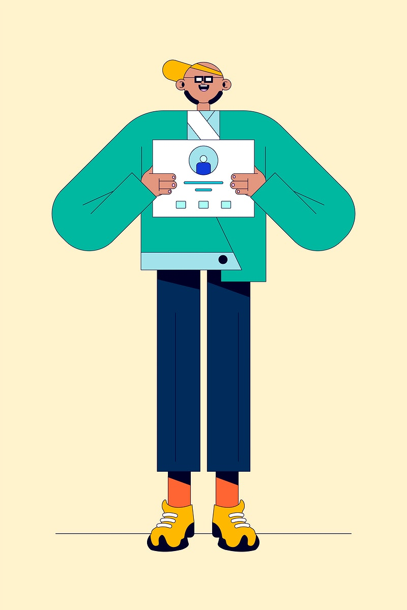 Illustration of young man with a presentation poster vector