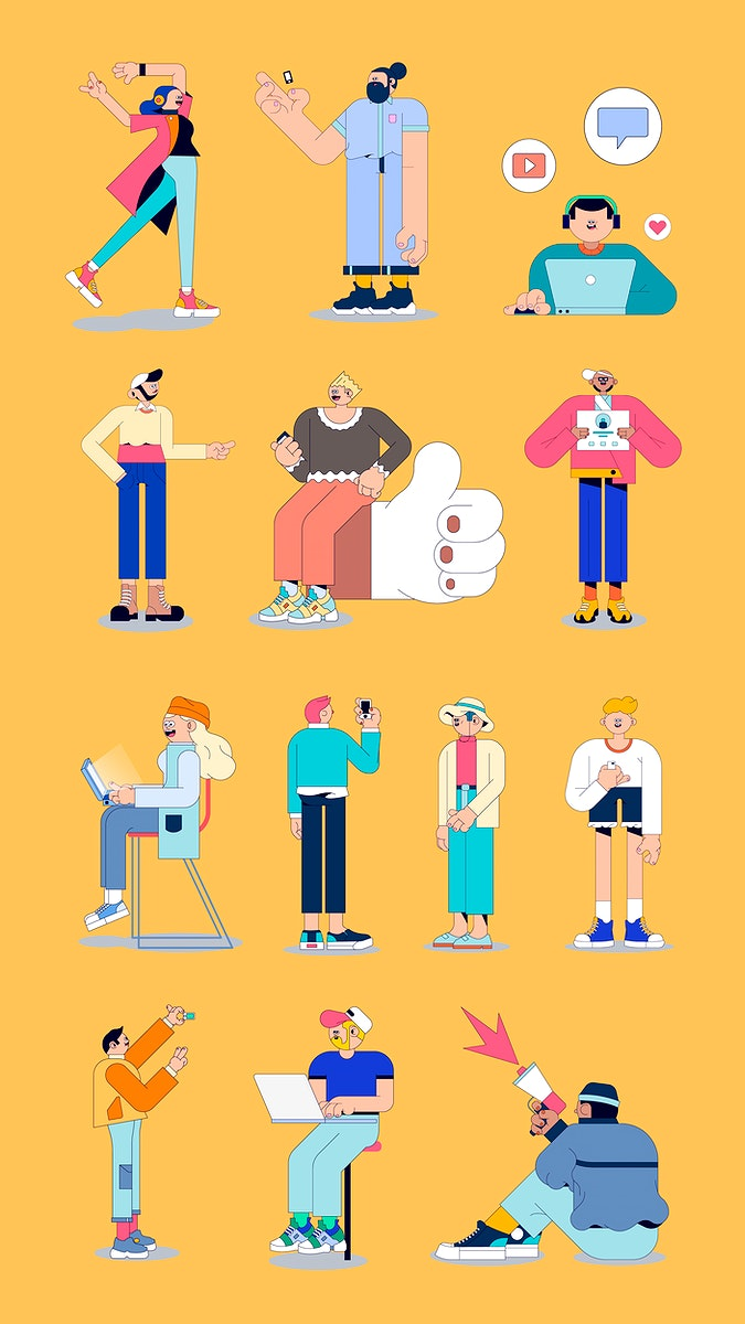 Illustration of diverse people on social media mobile phone wallpaper vector