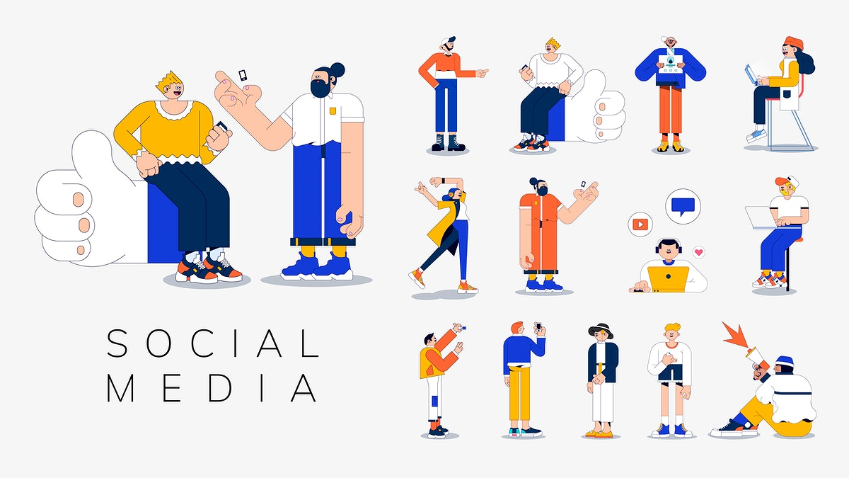 Illustration of diverse people on social media vector