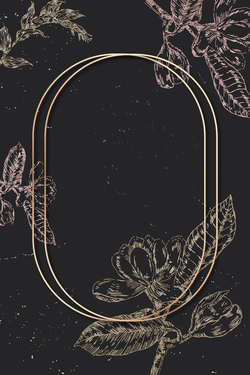 Blank oval golden frame with an outline flowers decoration on black background