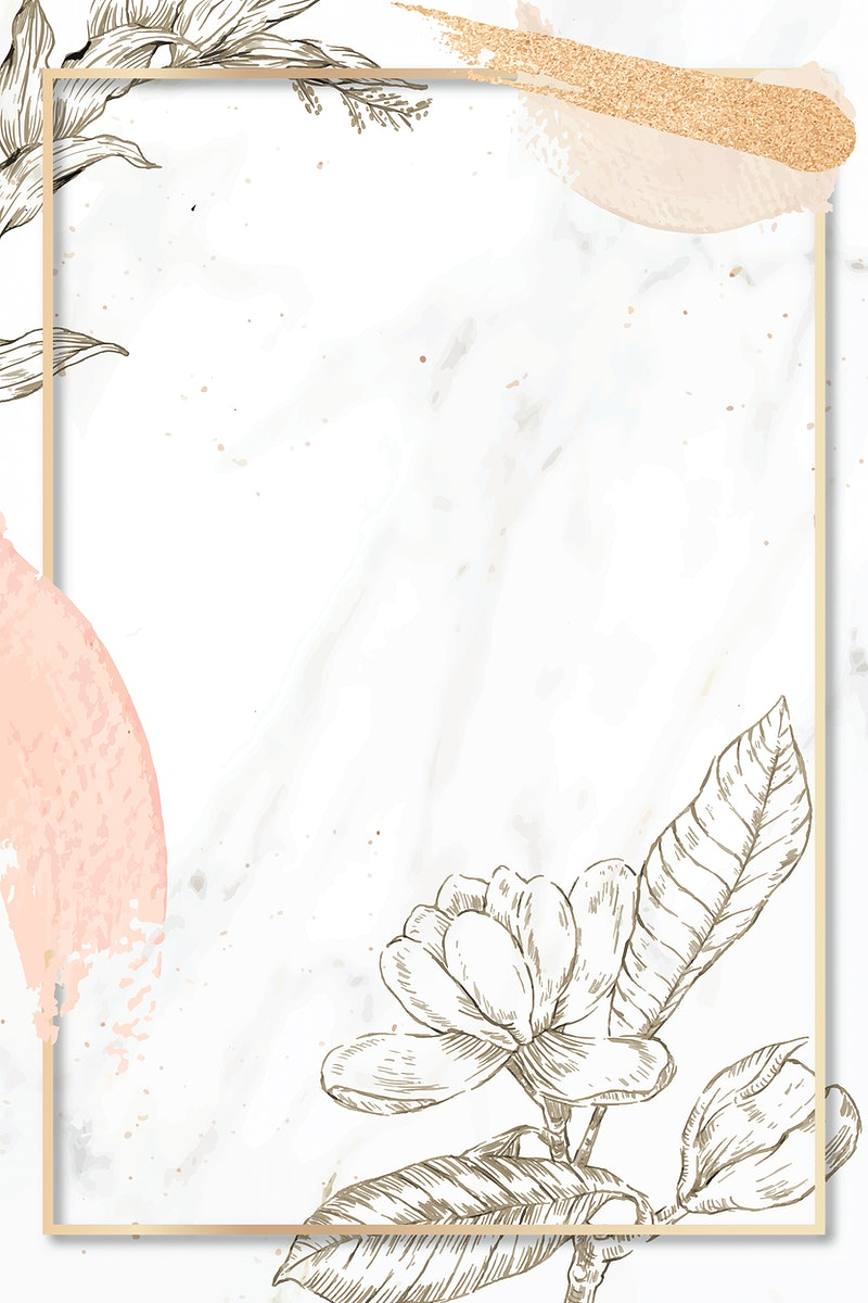 Rectangle frame with brush strokes and outline flowers decoration on marble background vector