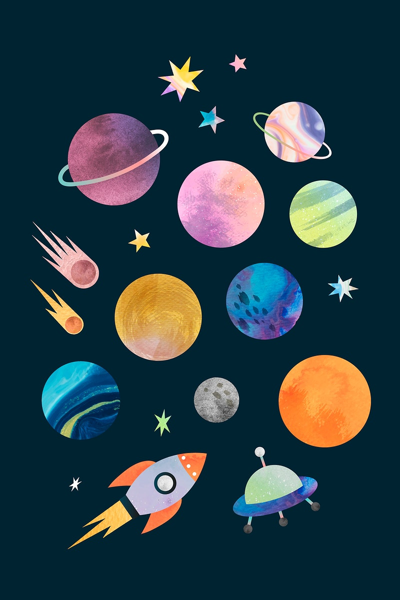 Colorful galaxy watercolor doodle on back background vector
