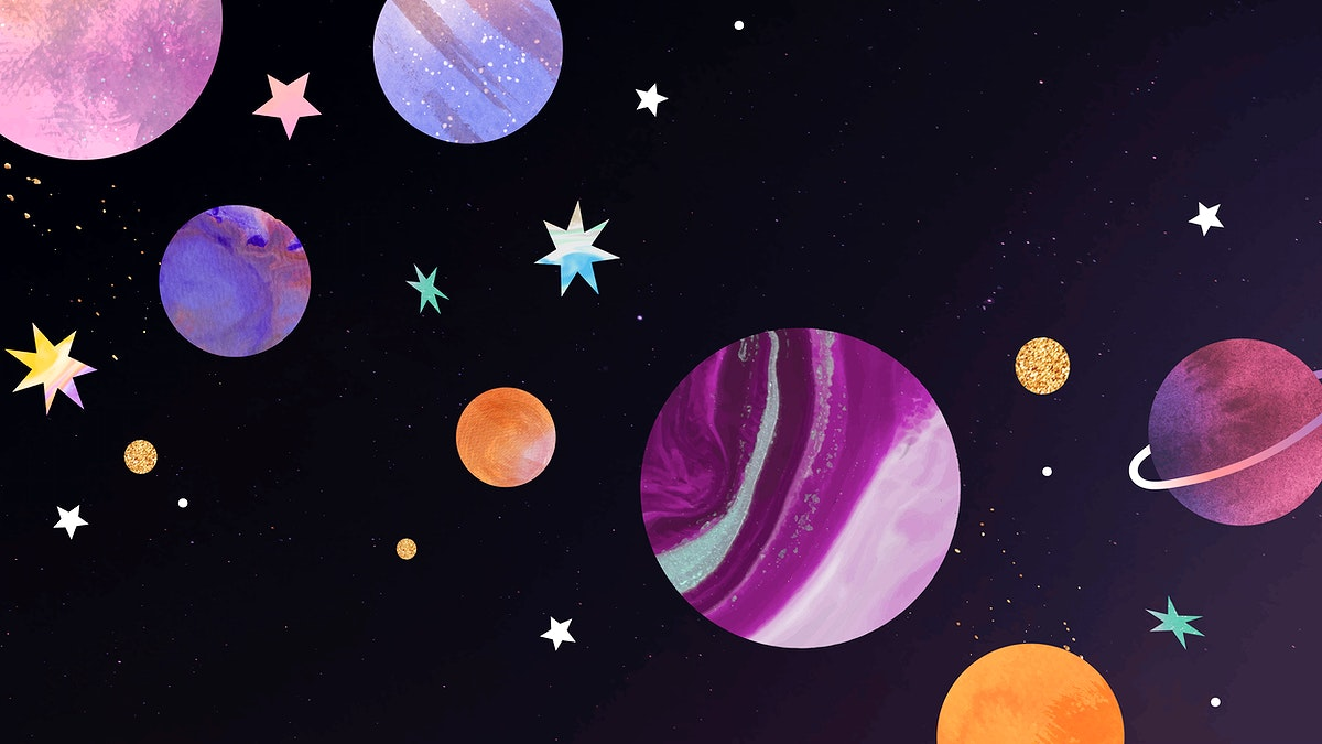 Colorful galaxy watercolor doodle on black background vector