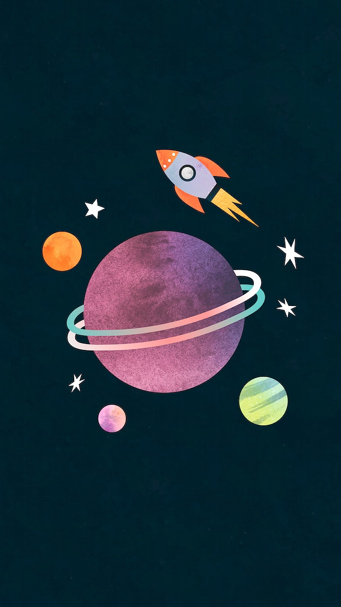 Colorful galaxy watercolor doodle with a rocket on black background mobile phone wallpaper vector