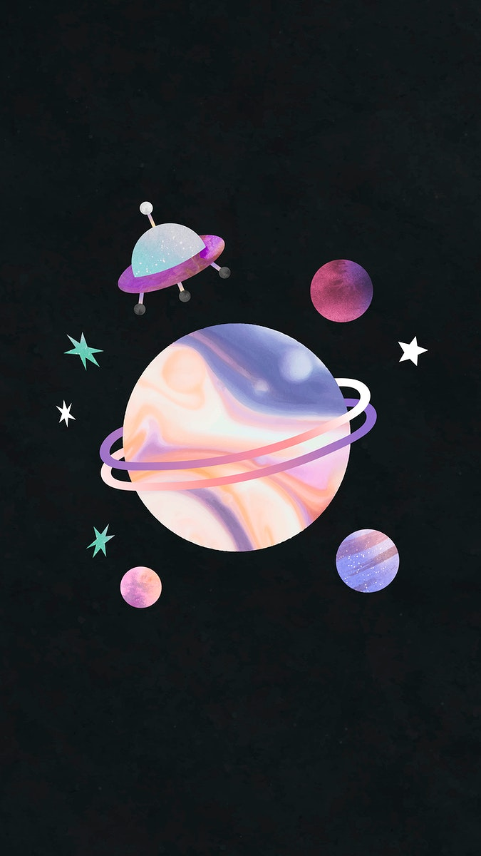 Colorful galaxy watercolor doodle with an UFO on black background vector