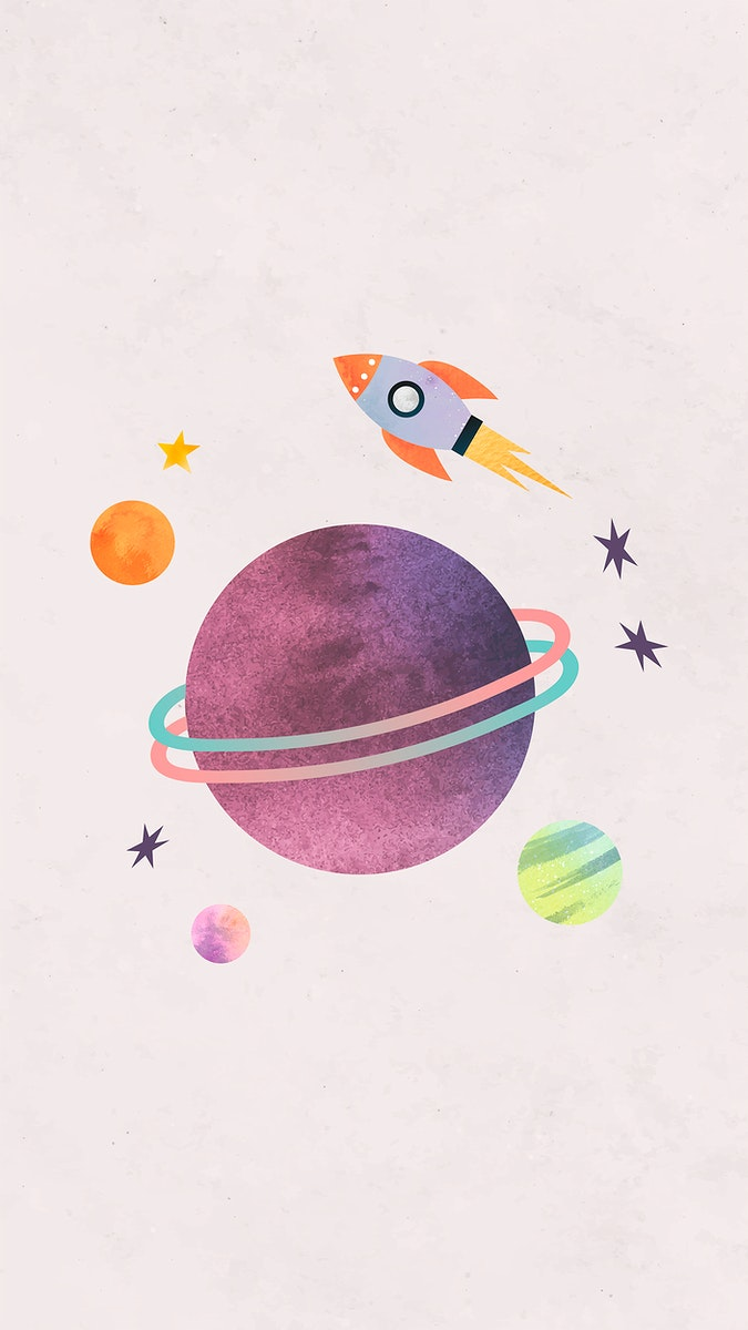 Colorful galaxy watercolor doodle with a rocket on pastel background mobile phone wallpaper vector