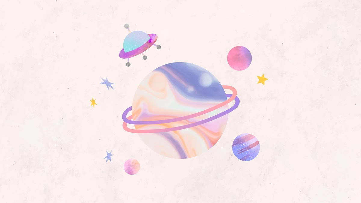 Colorful galaxy watercolor doodle with an UFO on pastel background vector