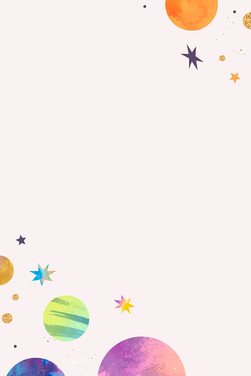 Colorful galaxy watercolor doodle frame on pastel background vector