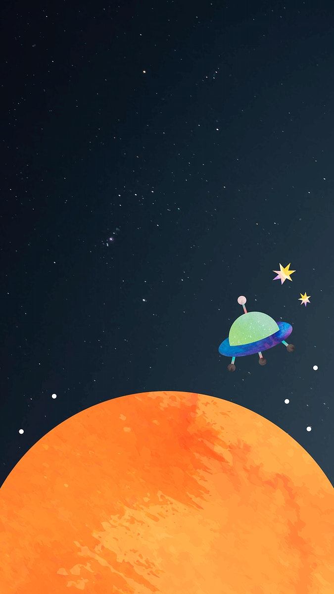 Colorful space watercolor doodle with an UFO on black background mobile phone wallpaper vector