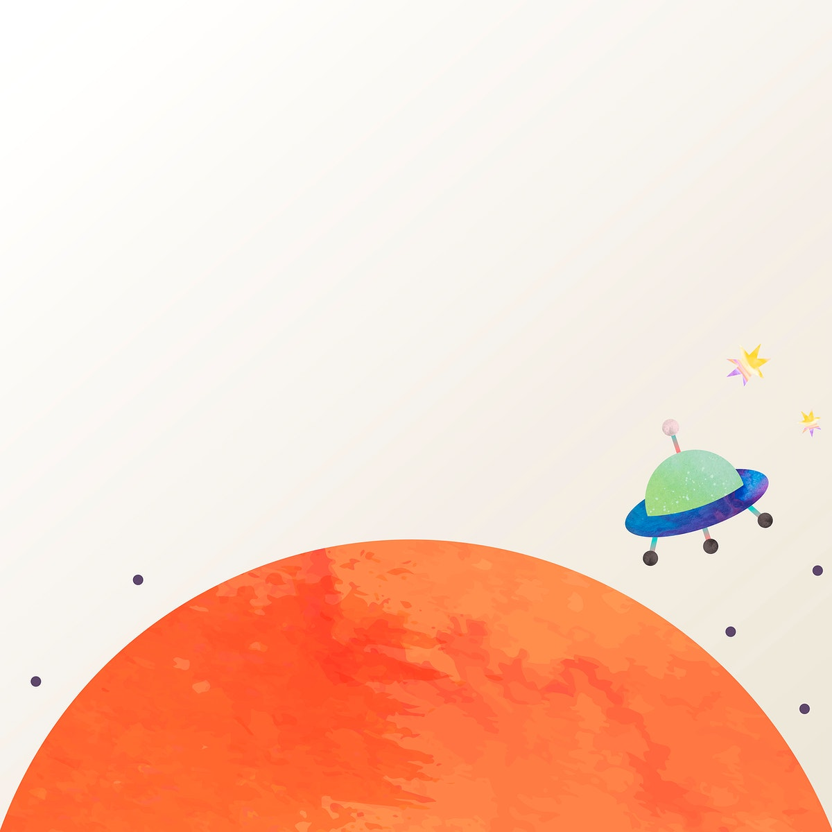 Colorful space watercolor doodle with an UFO on pastel background vector