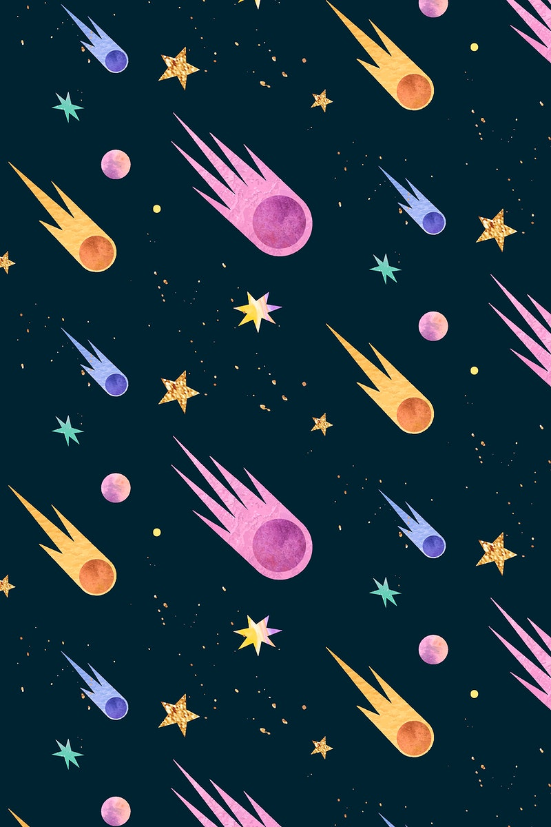 Colorful galaxy watercolor doodle with comets on black background vector