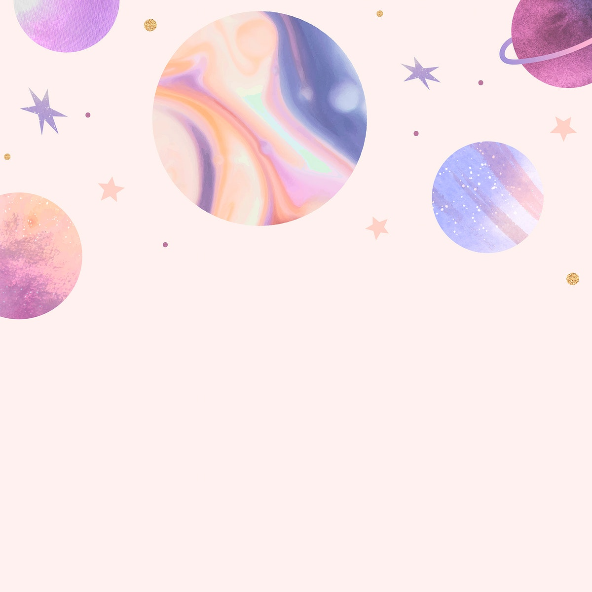 Colorful galaxy watercolor doodle on pastel background vector