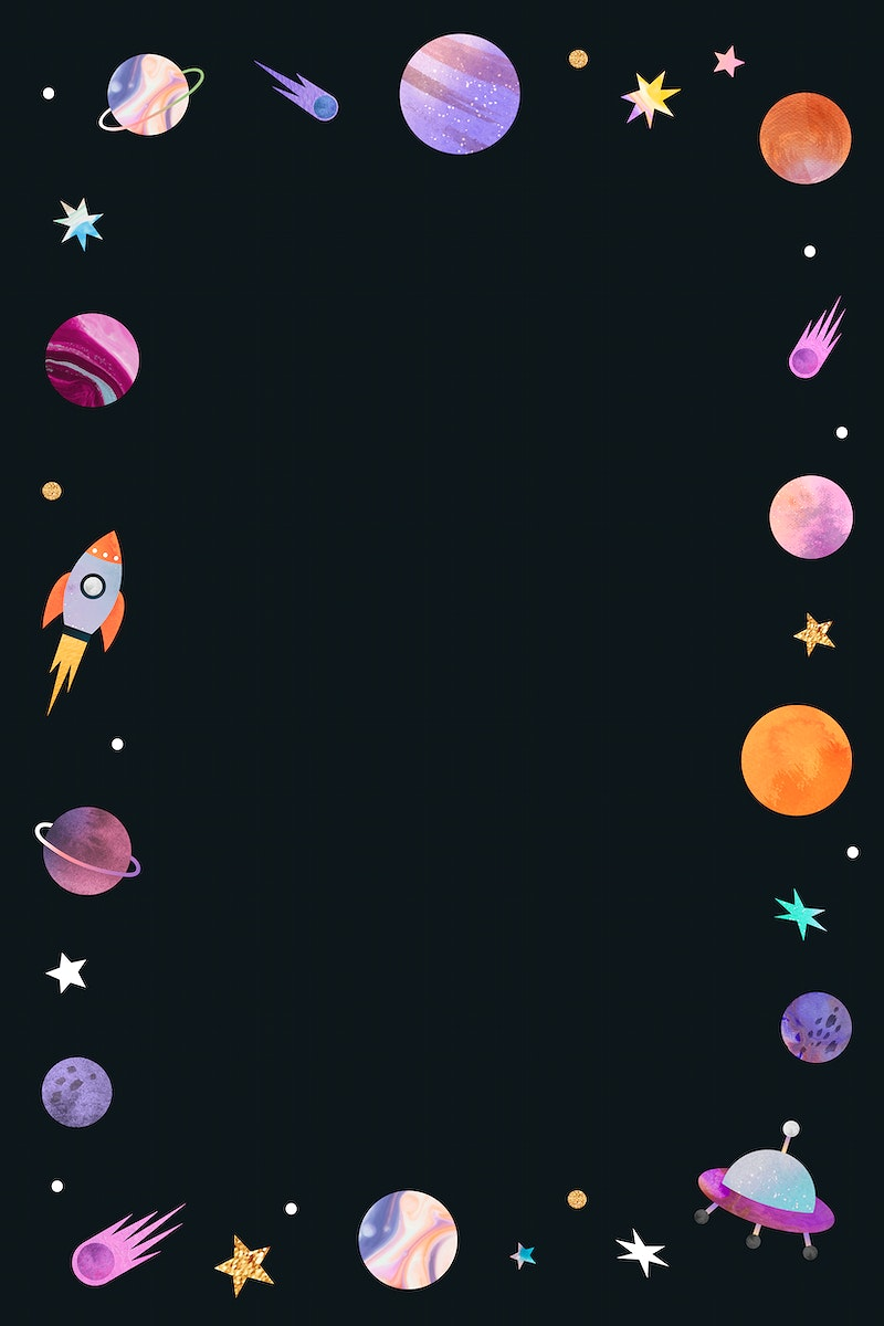 Colorful galaxy watercolor doodle frame on black background vector
