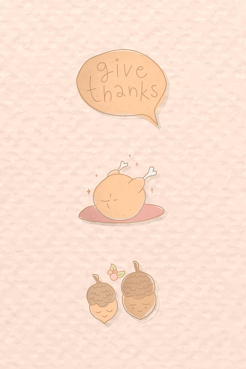 Thanksgiving doodle elements on orange background vector