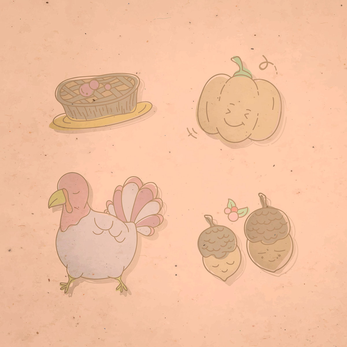 Thanksgiving doodle elements on pink background vector