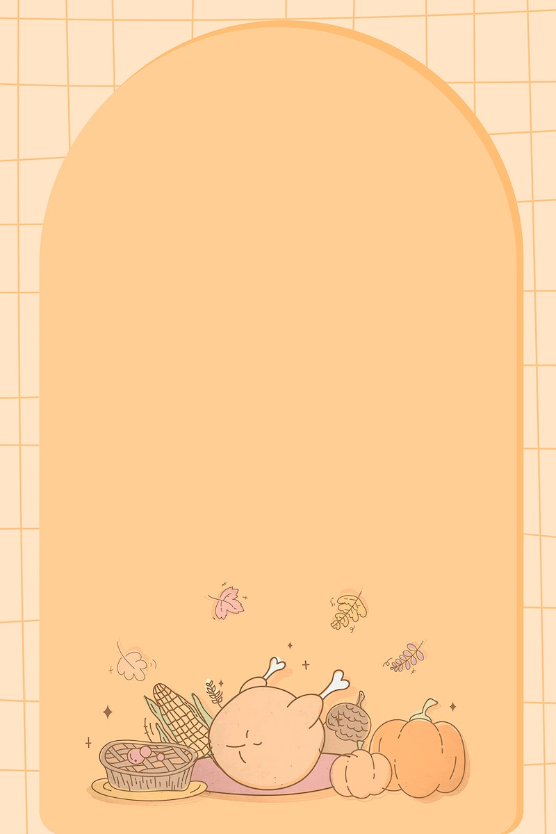 Frame with Thanksgiving doodle elements vector