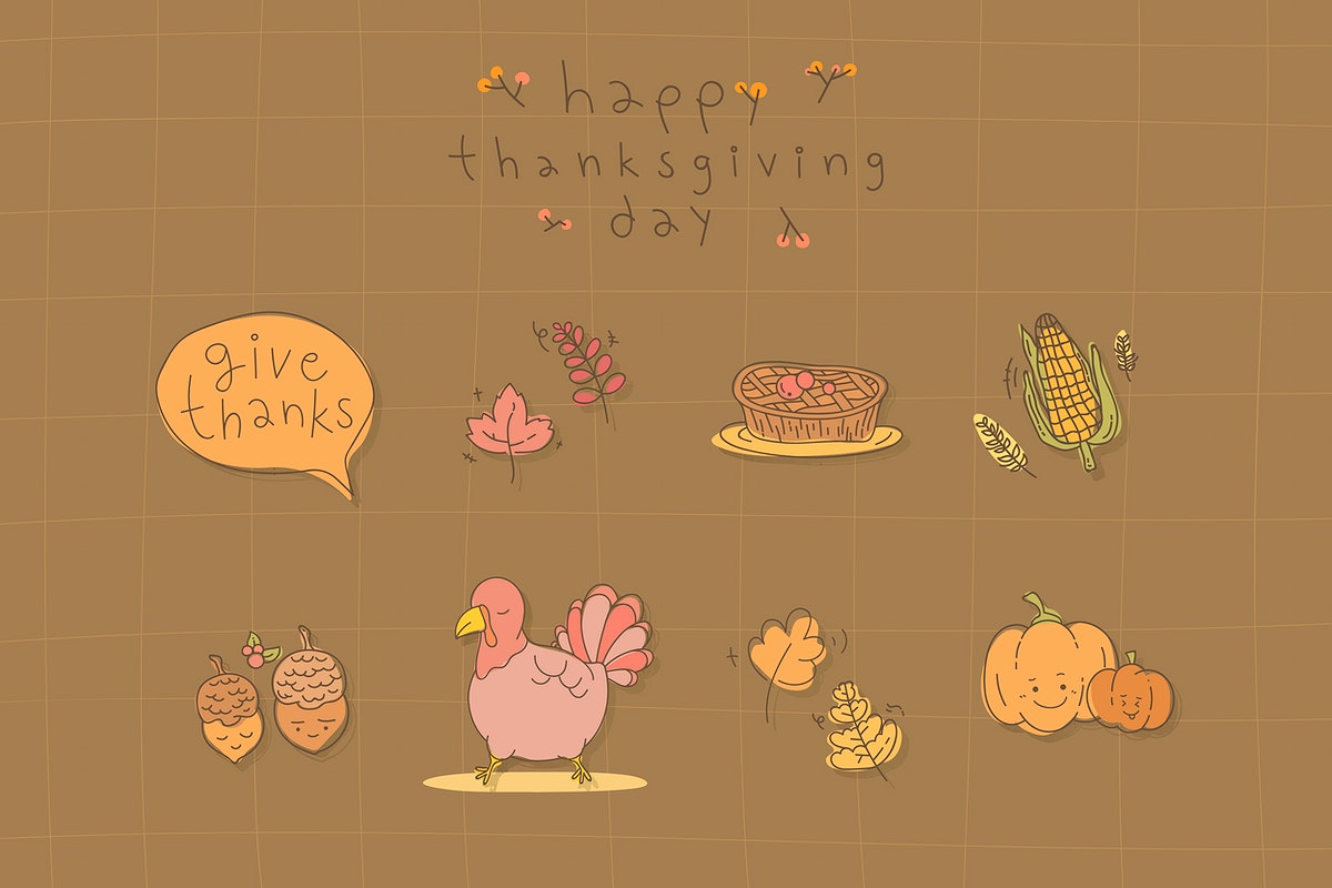 Thanksgiving doodle patterned on brown background vector