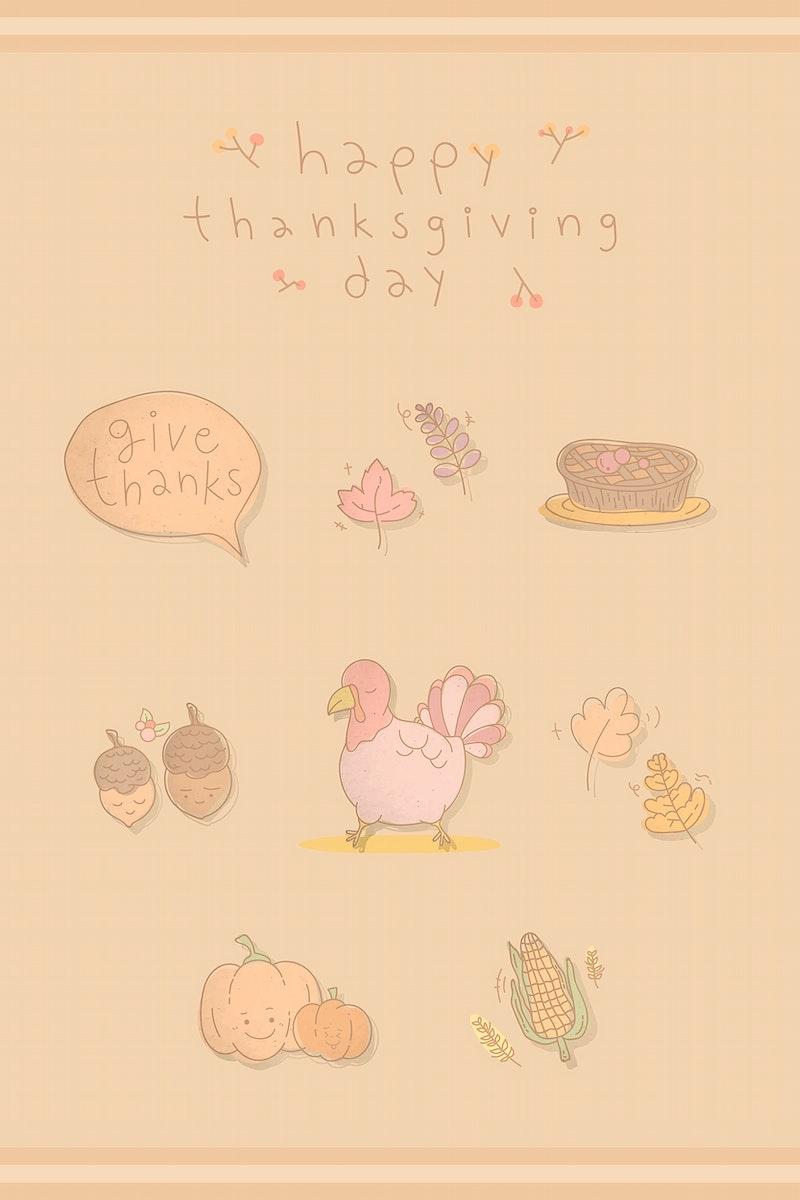 Thanksgiving doodle elements on beige background vector