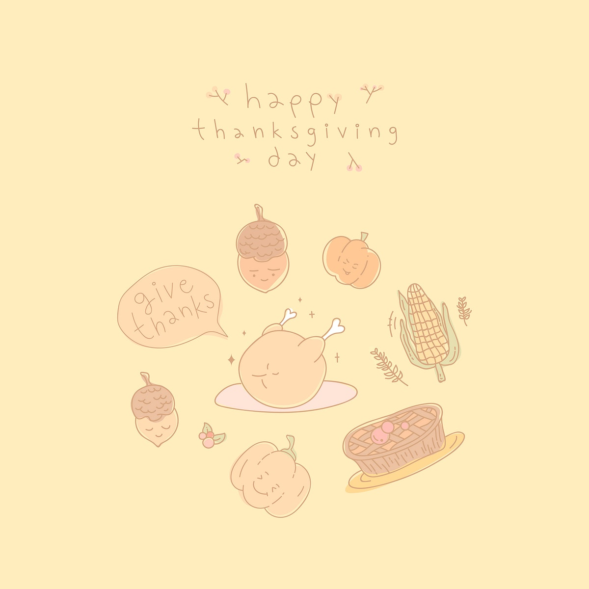 Thanksgiving doodle elements on yellow background vector