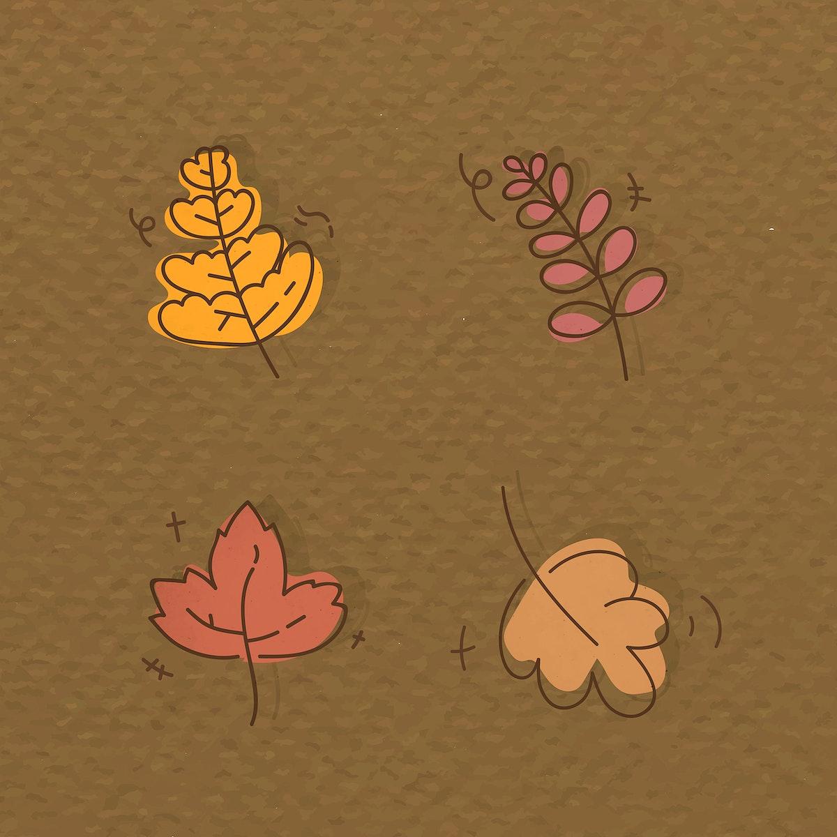 Autumnal leaves patterned social background vector