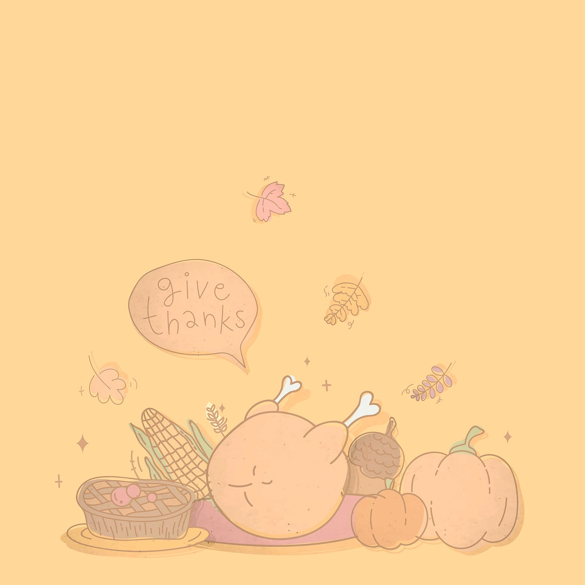 Thanksgiving patterned on brown background vector