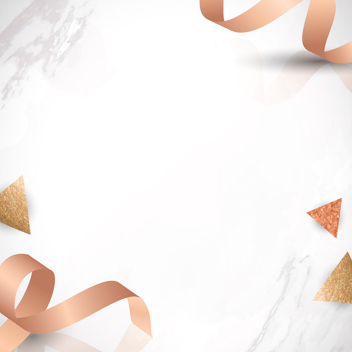 Pink gold ribbon patterned on gray marble background vector