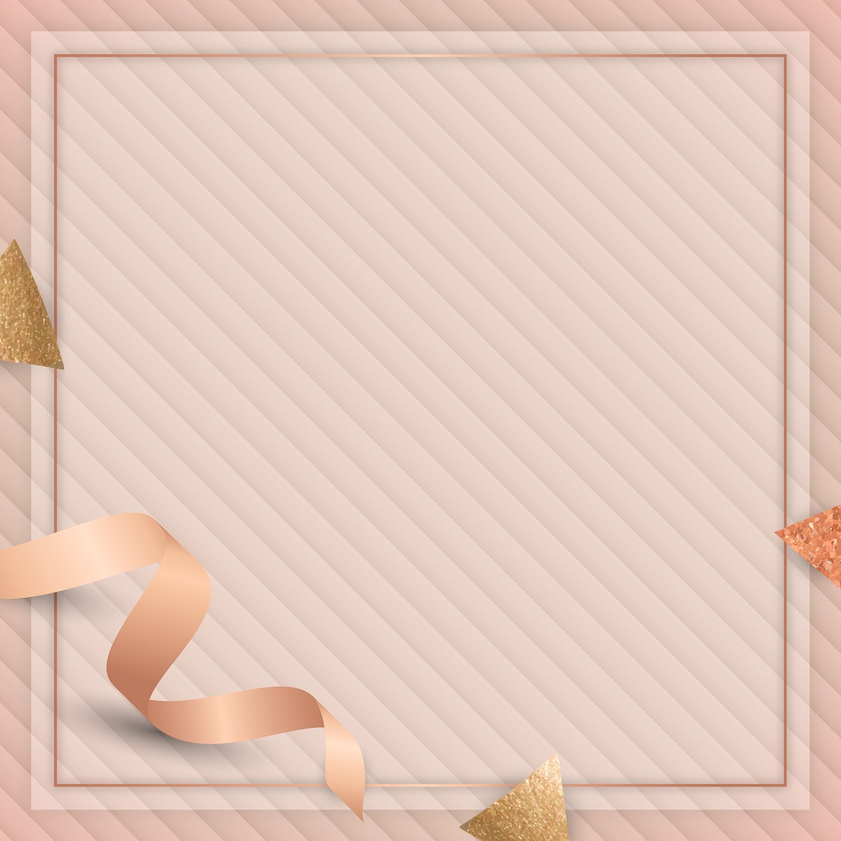 Square frame with pink gold ribbon illustration