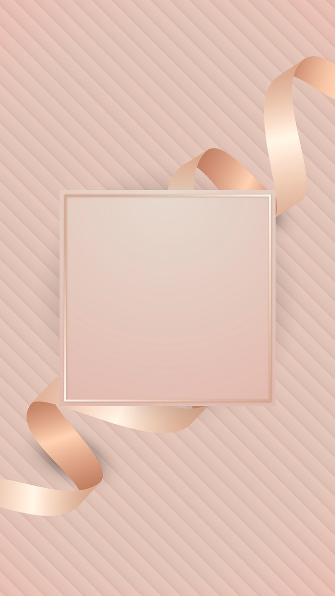 Square frame with pink gold ribbon vector