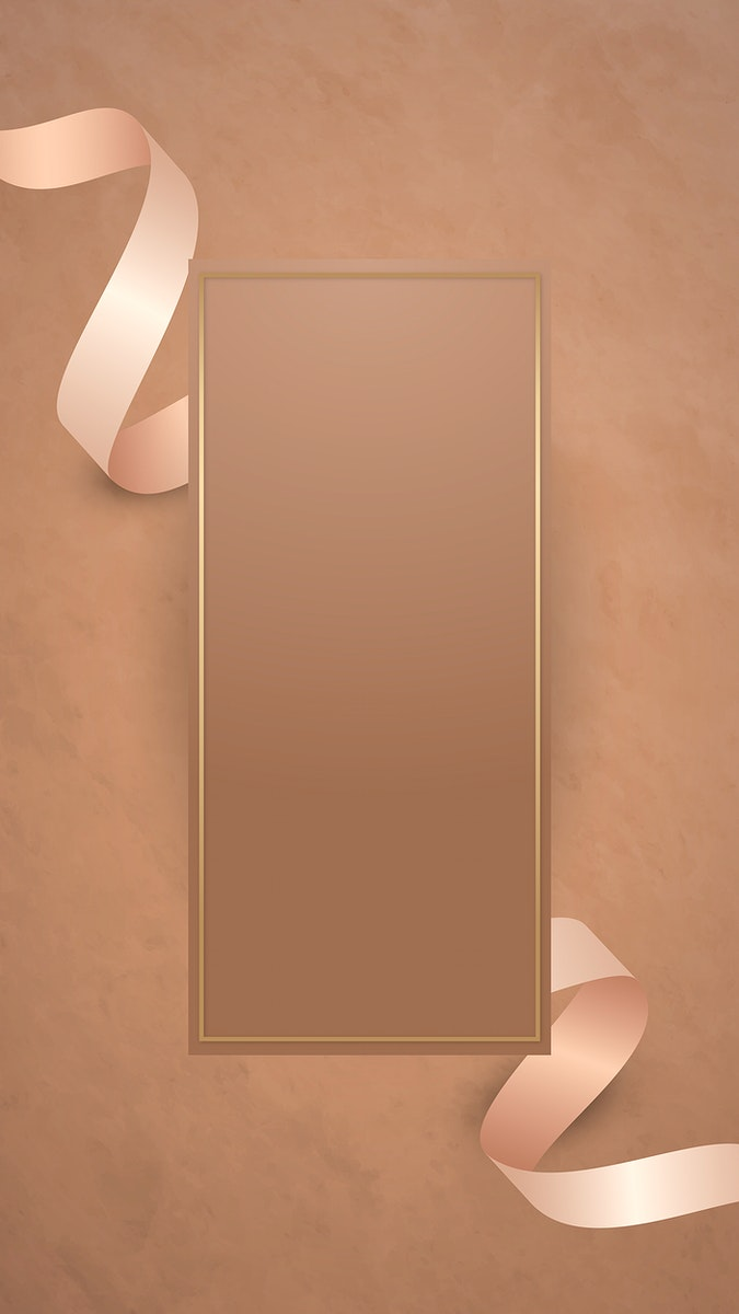 Gold frame with pink gold ribbon vector
